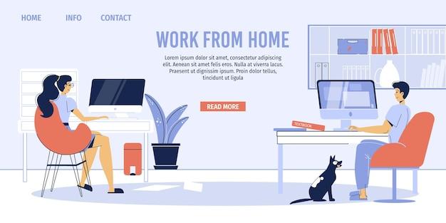 Personagens freelancers de família feliz trabalhando no espaço de trabalho do interior do apartamento, escritório em casa