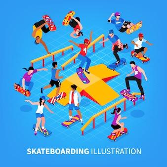 Personagens humanos de skatistas pulando e montando seus longboards realizando exercícios ilustração vetorial