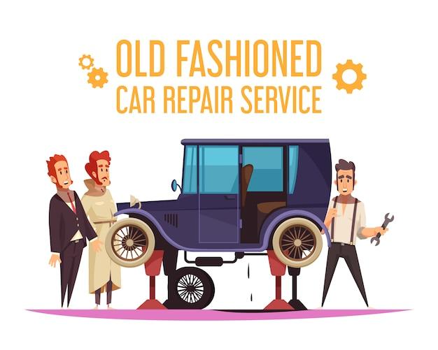 Personagens humanos e reparação de carro à moda antiga em desenho animado de fundo branco