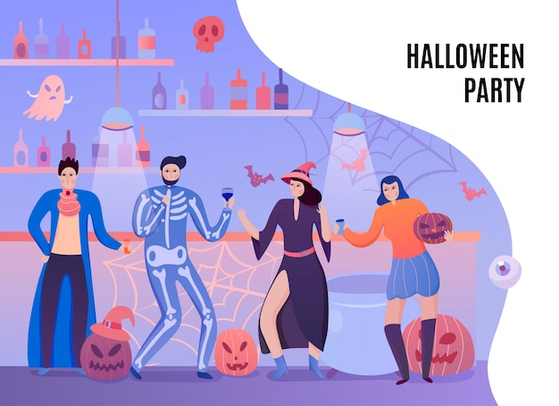 Personagens humanos em trajes de bruxa vampira e esqueleto com bebidas durante a ilustração plana de festa de halloween