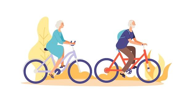 Personagens idosos andando de bicicleta
