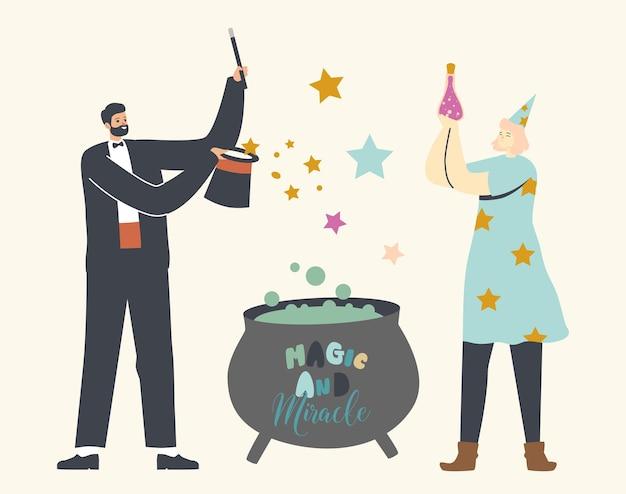 Personagens ilusionistas masculinos e femininos realizam truques com cartola, varinha, caldeirão e feitiços mágicos