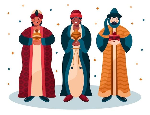 Personagens ilustrados de reyes magos desenhados à mão