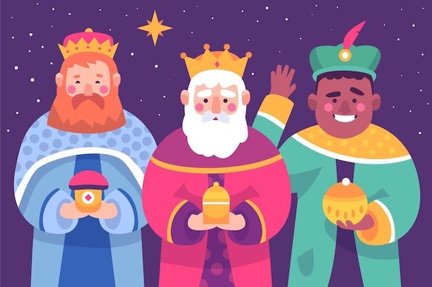 Personagens ilustrados de reyes magos