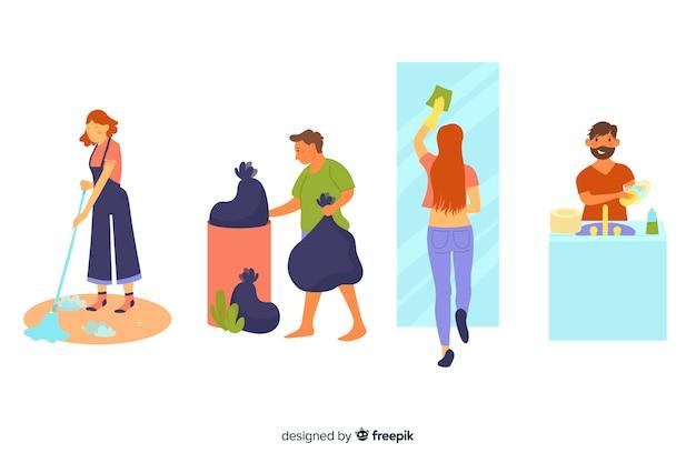 Personagens ilustrados fazendo trabalhos domésticos