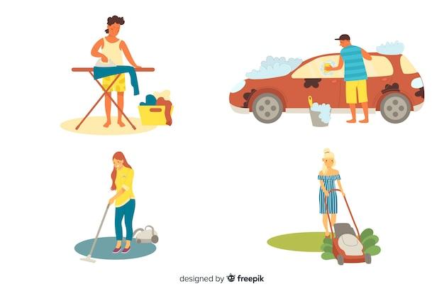 Personagens ilustrados limpando a casa