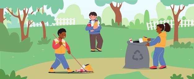 Personagens infantis coletam lixo no saco de lixo