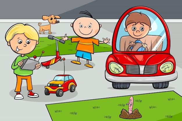 Personagens infantis com brinquedos Vetor Premium