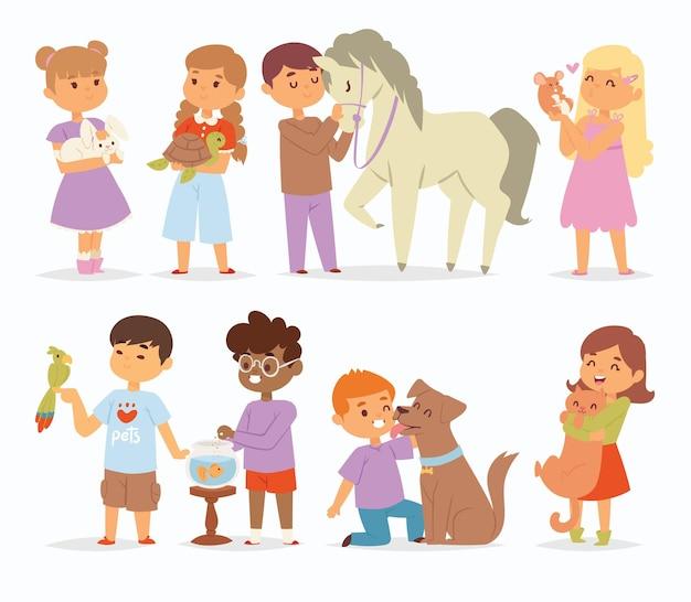 Personagens infantis de desenho animado acariciando o bichinho de estimação