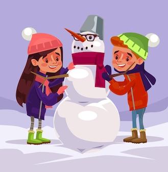 Personagens infantis fazem boneco de neve.