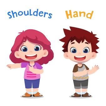 Personagens infantis fofinhos apontando para a mão e os ombros