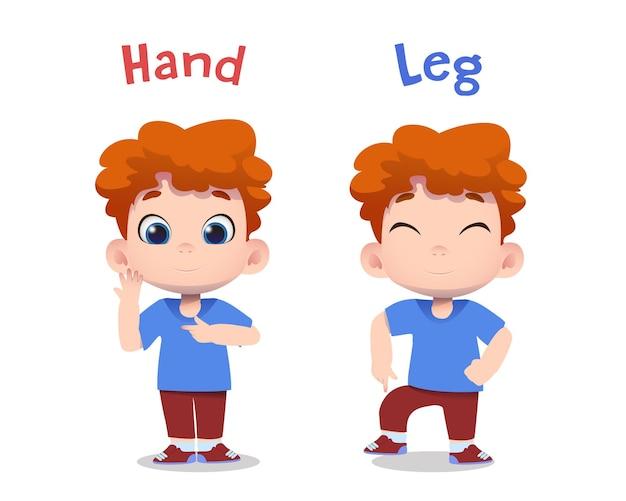 Personagens infantis fofinhos apontando para as mãos e as pernas