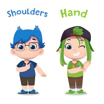 Personagens infantis fofinhos apontando para as mãos e os ombros