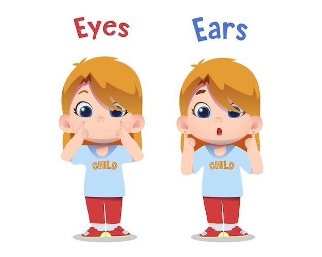 Personagens infantis fofinhos apontando para as orelhas e os olhos