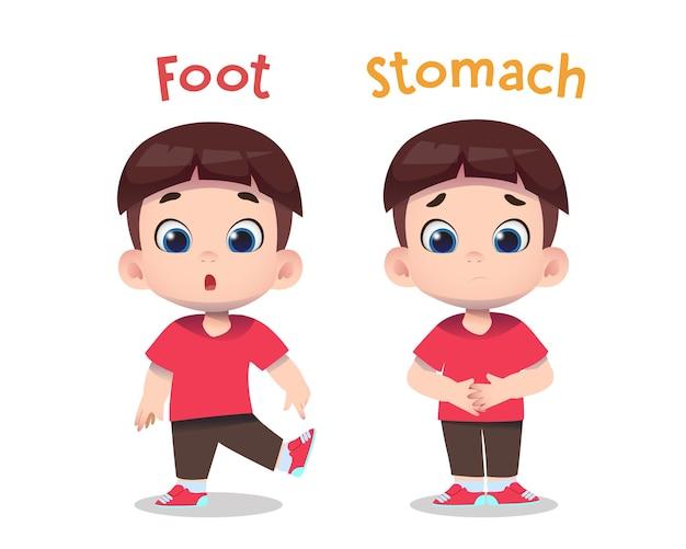 Personagens infantis fofinhos apontando para o pé e a barriga