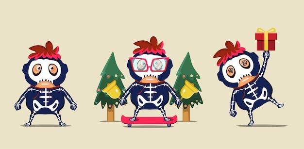 Personagens infantis fofinhos do mascote com fantasias de caveira celebrando o natal