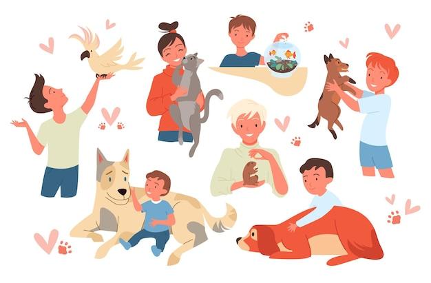 Personagens infantis segurando um hamster fofo e um papagaio menina menino criança dono de animal de estimação sentado com um gato