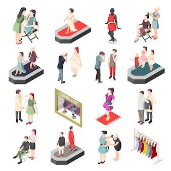 Personagens isométricos da indústria da moda