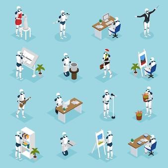 Personagens isométricos de robôs criativos