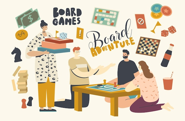 Personagens jogando jogos de tabuleiro. grupo de jovens brincam juntos no fim de semana, sentados ao redor da mesa. tempo de folga alegre na empresa de amigos, lazer, diversão recreativa, diversão. ilustração vetorial linear
