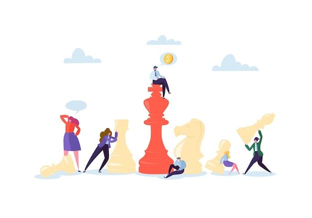 Personagens jogando xadrez. planejamento de negócios e conceito de estratégia. empresário e mulher de negócios com peças de xadrez. competição e liderança.