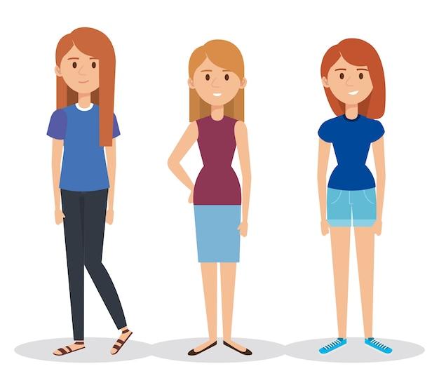 Personagens jovens avatares personagens ilustração vetorial design