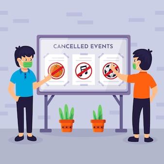 Personagens lendo anúncios de eventos cancelados