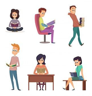 Personagens lendo o conjunto de livros
