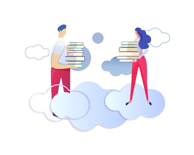Personagens masculinas e femininas segurando montes de livros.