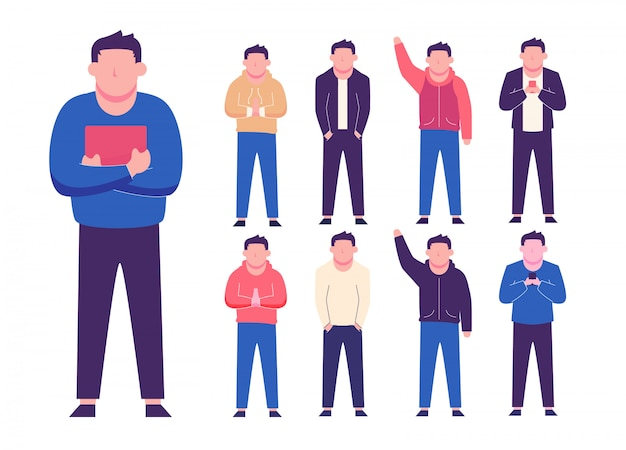 Personagens masculinos com muitos estilos diferentes de coleção