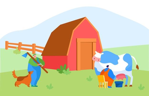 Personagens masculinos da leiteira e do pastor em working on farm