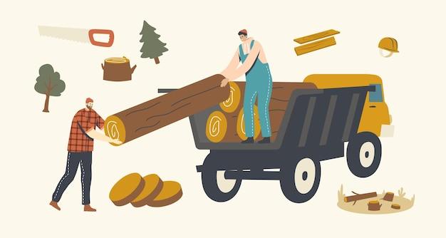 Personagens masculinos de lenhador carregando toras de madeira no caminhão. desmatamento, corte e transporte de árvores florestais