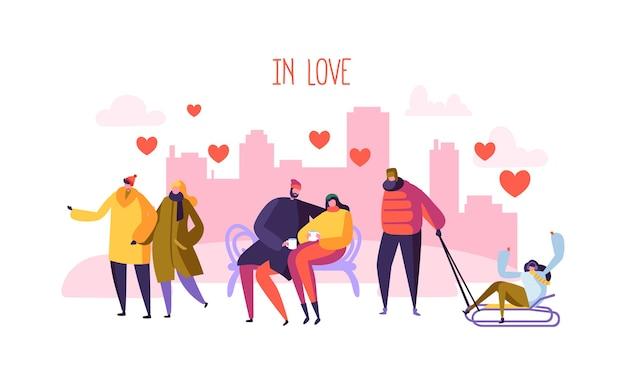 Personagens masculinos e femininos apaixonados
