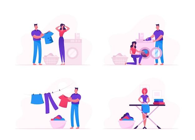Personagens masculinos e femininos carregando roupas sujas na máquina de lavar, passando e secando roupas de cama