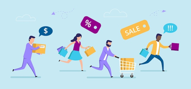 Personagens masculinos e femininos correndo com carrinho de compras. composição de desenhos animados do conceito de venda
