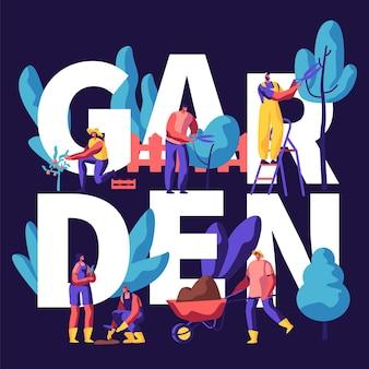 Personagens masculinos e femininos, crescendo, plantando e cuidando de árvores no conceito de jardim. ilustração plana dos desenhos animados