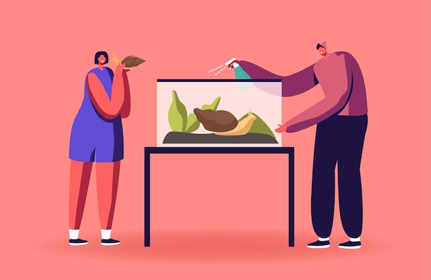 Personagens masculinos e femininos cuidando de caracóis achatina alimentando-se de folhas verdes e limpando o terrário