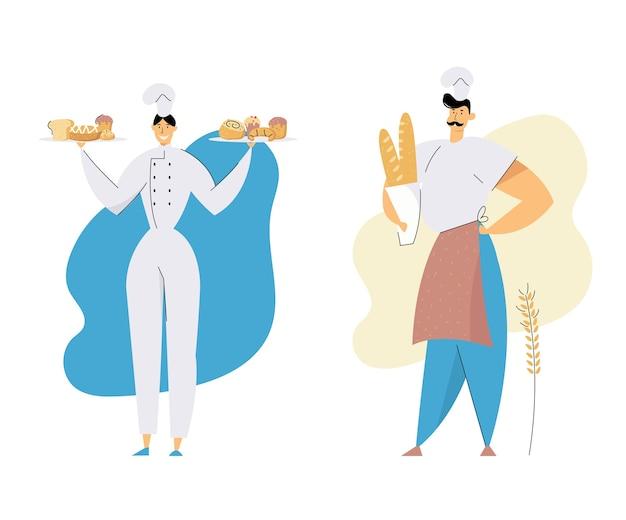 Personagens masculinos e femininos de bakers usando toque de chefe e uniformes segurando bandejas