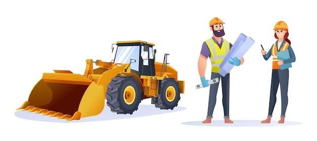 Personagens masculinos e femininos do engenheiro de construção com ilustração de carregadeira de rodas