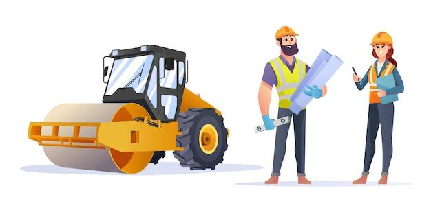 Personagens masculinos e femininos do engenheiro de construção com ilustração do compactador rolo compressor