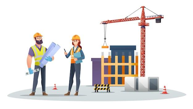 Personagens masculinos e femininos do engenheiro de construção no canteiro de obras com ilustração de guindaste de torre