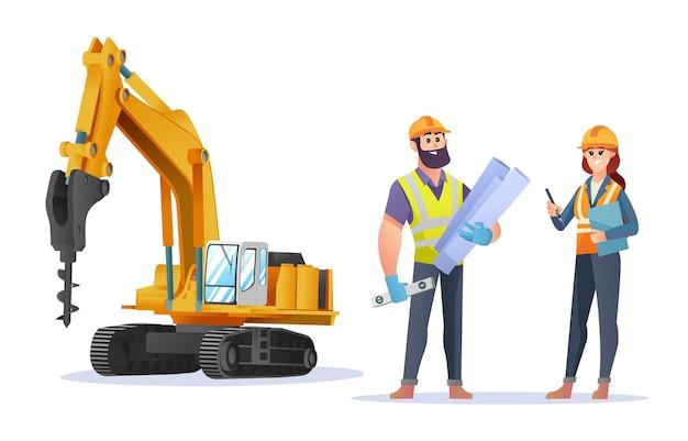 Personagens masculinos e femininos, engenheiros de construção, com ilustração de escavadeira