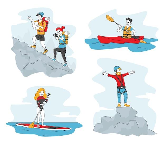 Personagens masculinos e femininos escalando montanhas