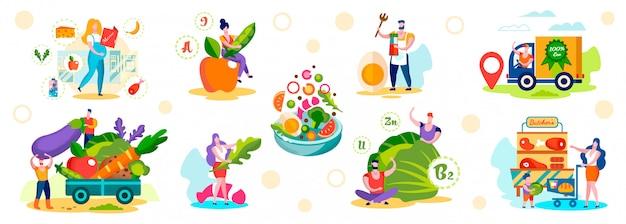Personagens masculinos e femininos escolhem comida ecológica saudável