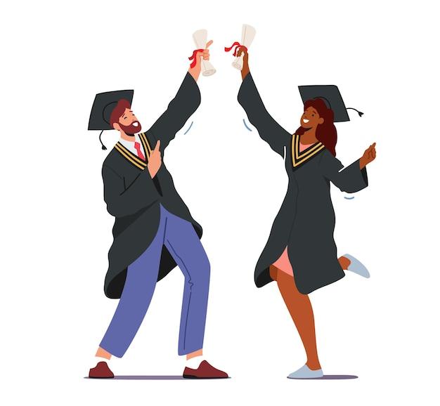 Personagens masculinos e femininos ex-alunos se formando na universidade