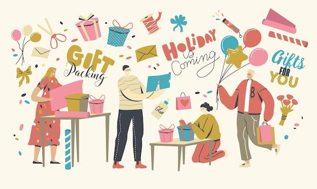 Personagens masculinos e femininos fazendo e embalando presentes para a celebração de feriados, parabéns calorosos a amigos ou família para aniversário, dia dos namorados ou aniversário. ilustração em vetor de pessoas lineares