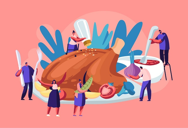 Personagens masculinos e femininos felizes cozinhando um enorme peru de ação de graças