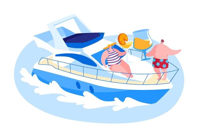 Personagens masculinos e femininos felizes descansando no convés do navio