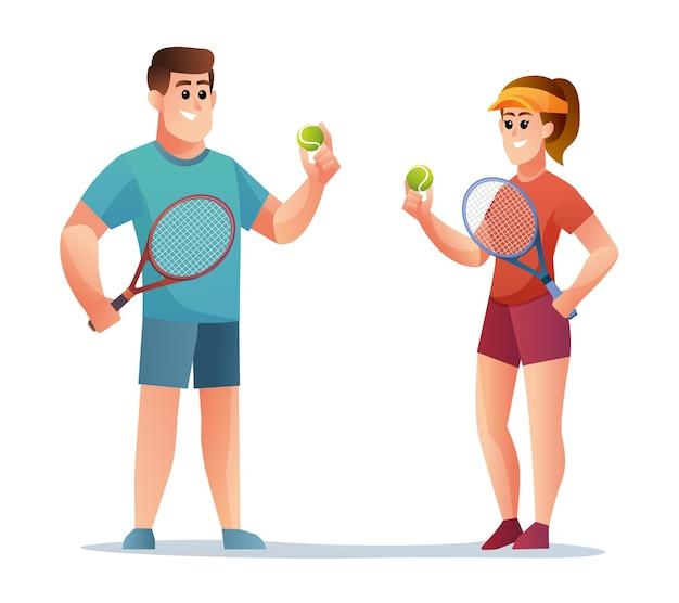 Personagens masculinos e femininos jogadores de tênis