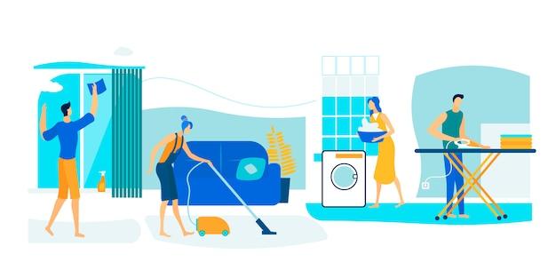 Personagens masculinos e femininos limpam a casa no fim de semana.